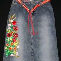Джинсовая юбка с вышивкой, в Екатеринбурге