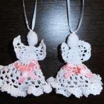 Ангел вязанный крючком. Белый, с розовой/бежевой лентой, в г.Днепропетровск