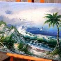 Пальма на берегу моря, 120х60см, картина маслом на холсте, в Москве