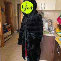Шуба из мутона с норковым капюшоном, в Тюмени