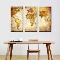 Карта мира - модульная картина из 3-х частей. печать на холс, в г.Бишкек