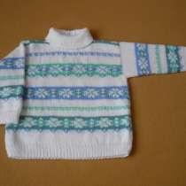 Белый свитер с норвежским рисунком. Ручная работа, в Москве