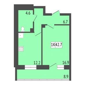 Продам 1-к. квартиру, 42,7 м², 8/20 эт. в ЖК Отражение, в Красноярске