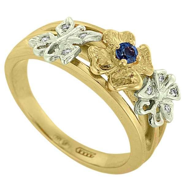 Кольцо из золота с сапфиром и бриллиантами, новое