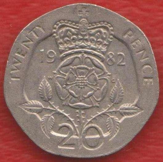 Великобритания Англия 20 пенни 1982 г. Елизавета II
