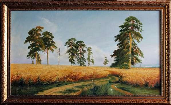 Картина, утро в сосновом бору в Казани