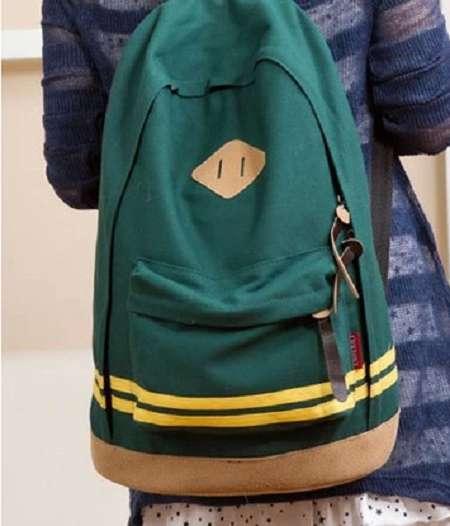 Зеленый Черный рюкзак с цветными полосками