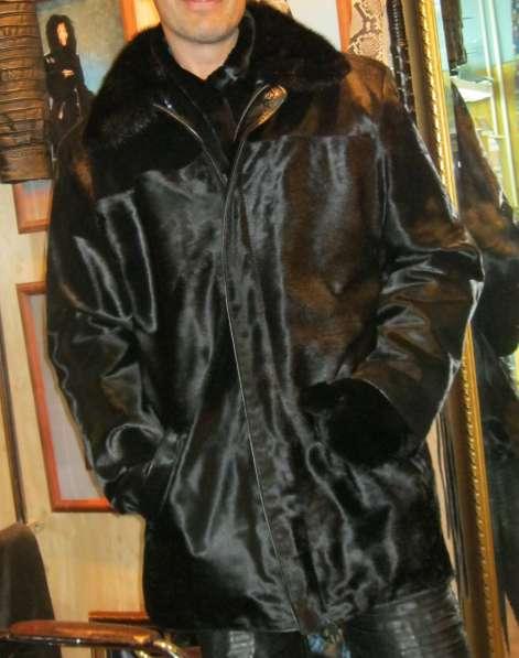 Продаю куртку мужскую из кожи с ворсом и воротом из норки