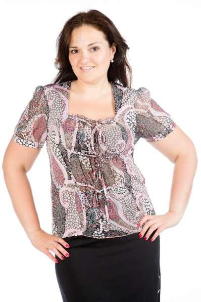 Блузка трикотажная с шифоновыми рукавами