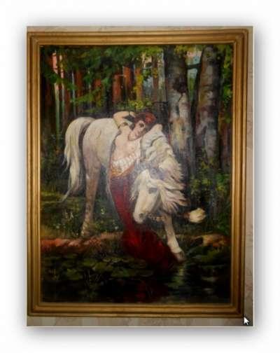 Антикварная картина «Девушка и лошадь»