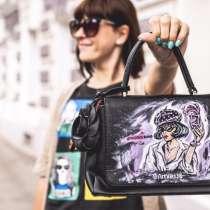 Чёрная сумка с рисунком #розовоевино, в Москве