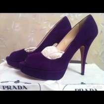 Туфли новые Prada Италия размер 39 замша фиолетовые сиреневы, в Москве