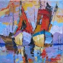 """Картина """"Оранжевые лодки"""", холст, масло, в г.Севастополь"""