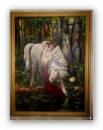 Антикварная картина «Девушка и лошадь», в Иванове