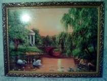 Картина 2 лебедя на озере, в Москве
