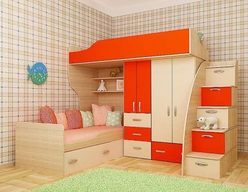 """Детская 2-х ярусная кровать с лестницей """"Азбука"""""""