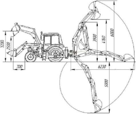 Экскаватор-погрузчик Амкодор-703М с увеличенной глубиной коп