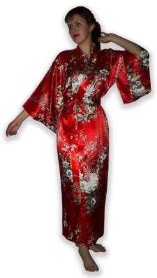 Длинный женский шелковый халат