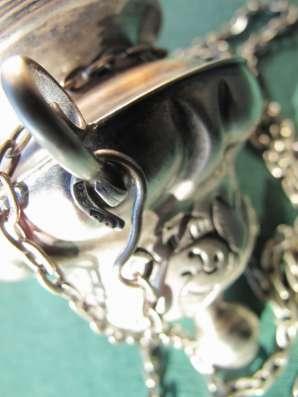 Изящная старинная лампада с цепью из серебра