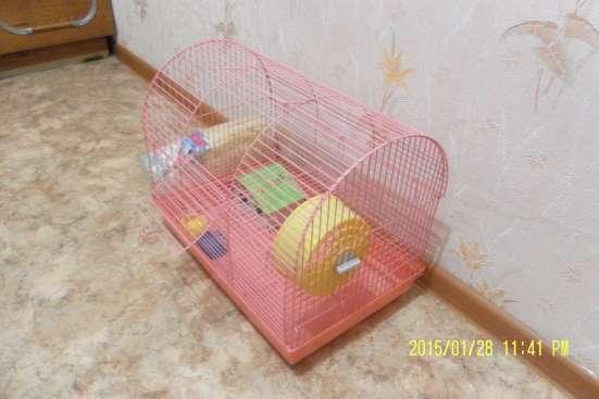 Клетка для хомяка большая с домиком, мисками, колес + опилки