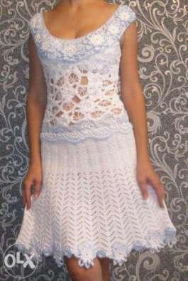 Вязаное белое летнее платье ручной работы в г. Днепропетровск Фото 1