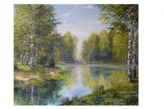 Картина пейзаж на озере