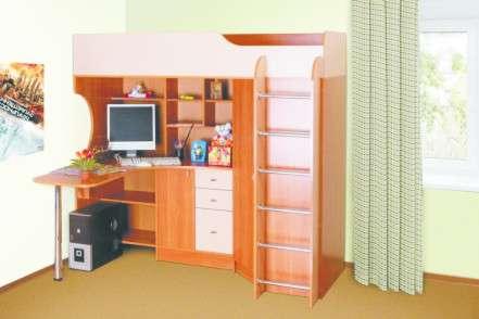 Двух ярусная кровать с письменным столом