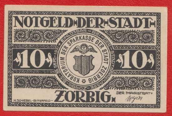 Германия Нотгельд Цёрбиг 10 пфеннигов 1921 г