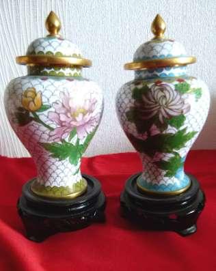Cloisonne. Кол. парные вазы. China.17см. Китай. Редкие