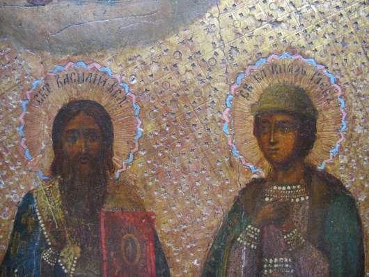 Икона. Благоверные князья Борис и Глеб, св Василий. Сусалка