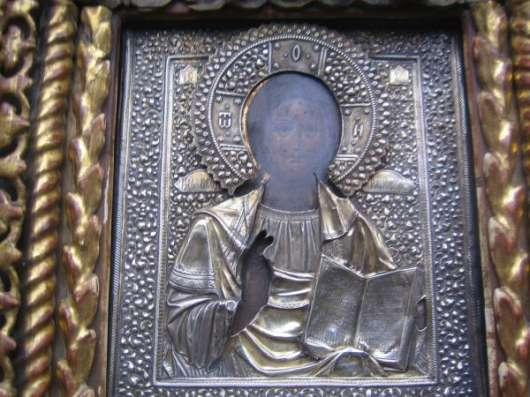 Старинный иконостас-Триптих-,оклады-серебро 84*,XIXв в Москве Фото 1