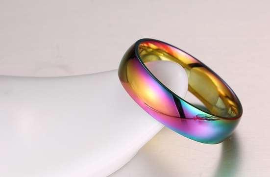 Красочное титановое кольцо, цвет градиент+мешочек для хранен