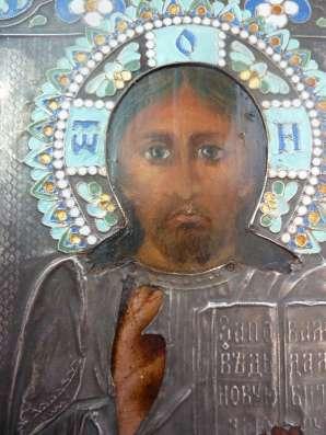 Икона Господь Вседержитель оклад серебро эмаль в Орле Фото 3